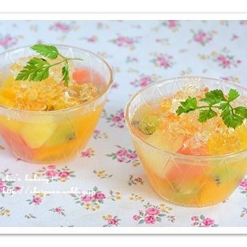 ㉒簡単デザート:フルーツたっぷりカクテル