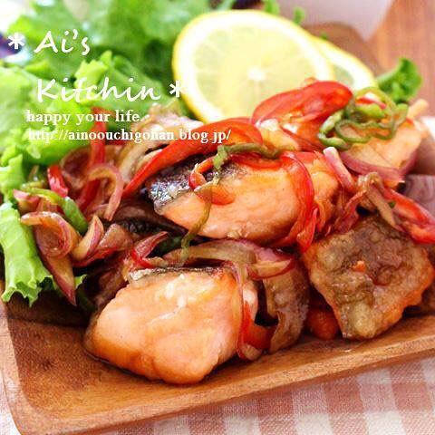 赤パプリカとピーマンを使った鮭の人気マリネ弁当