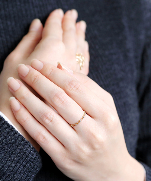 [SIENA ROSE] 一粒ダイヤのオーバル透かしカットリング