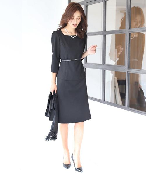[C.R.E.A.M] スクエアネック スカート セットアップ フォーマル スーツ ベルト付き【3点セット】結婚式 ブラックフォーマル 喪服