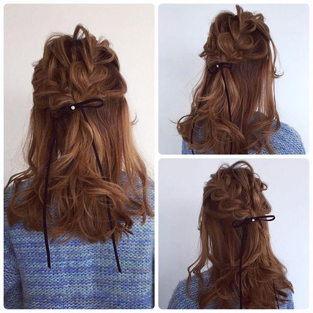 結婚式 髪型 飾り ハーフアップ2