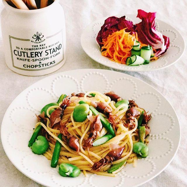 ホタルイカと春野菜のパスタ