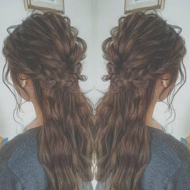 結婚式 髪型 セミロングヘア ハーフアップ3