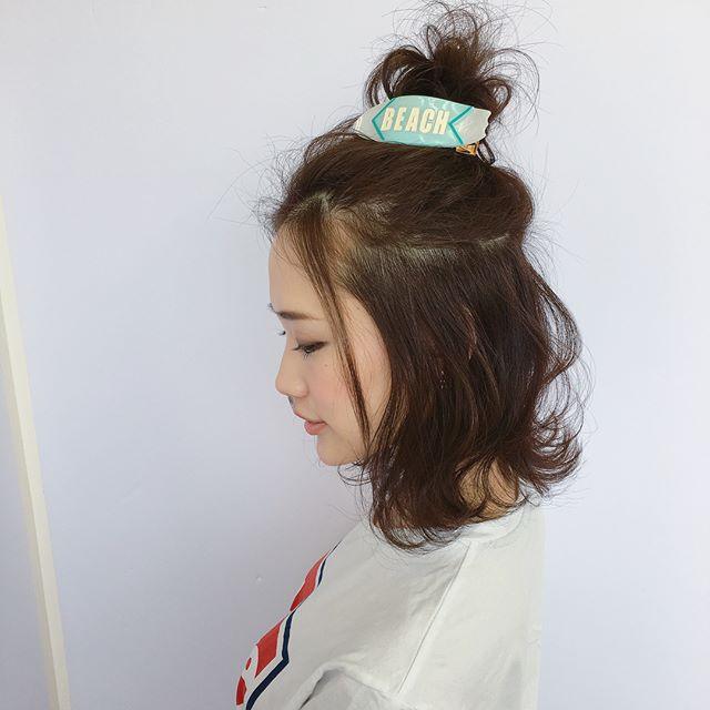 結婚式 髪型 ボブヘア ハーフアップ3