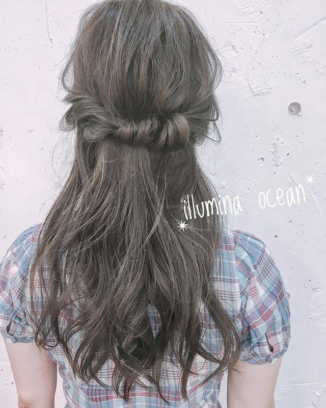 結婚式 髪型 セミロングヘア ハーフアップ4