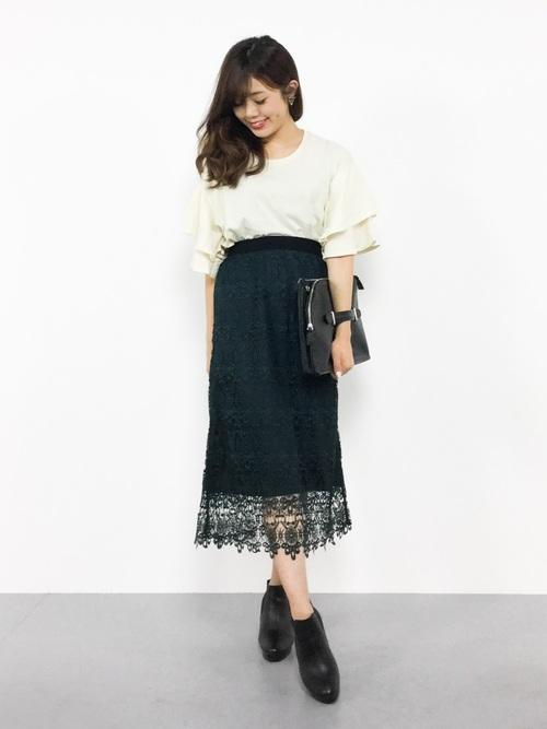[FELISSIMO] IEDIT 繊細レースで魅せるオトナしなやかレースのロングスカート