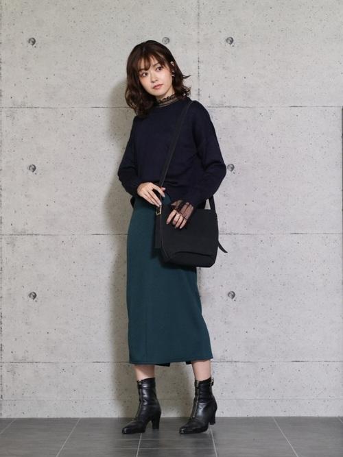 [reca] ウエストゴムリブスウェットスカート