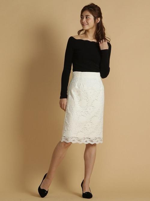 白スカート 冬コーデ2