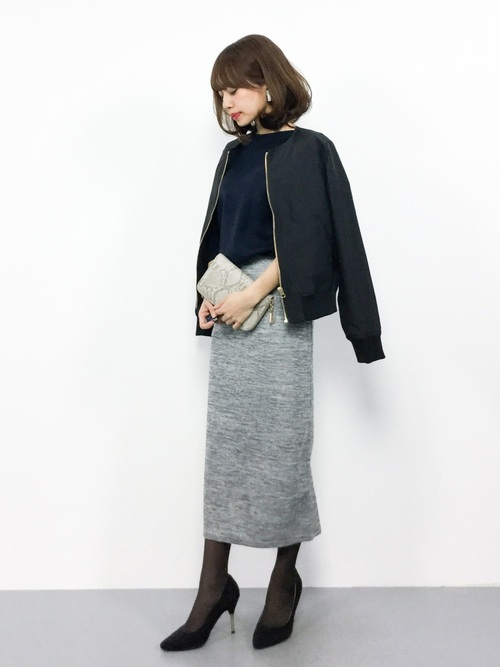 [reca] ウエストゴムリブタイトスカート