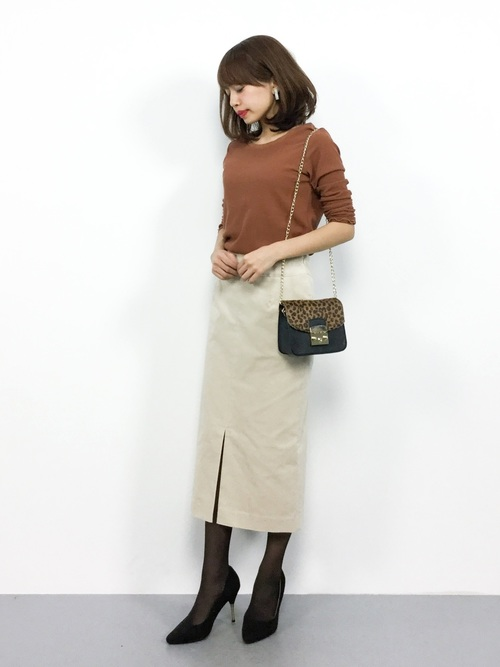 白スカート 冬コーデ14
