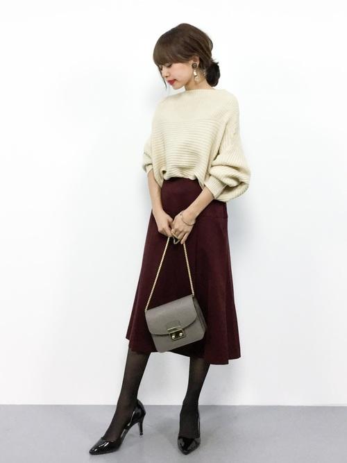 茶色 スカート 冬コーデ フレア4