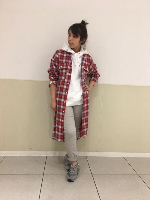[AVIREX Belle] 【直営店限定】DS-L/S ONBRE CHECK ONE PIECE/ オンブレ チェック ワンピース