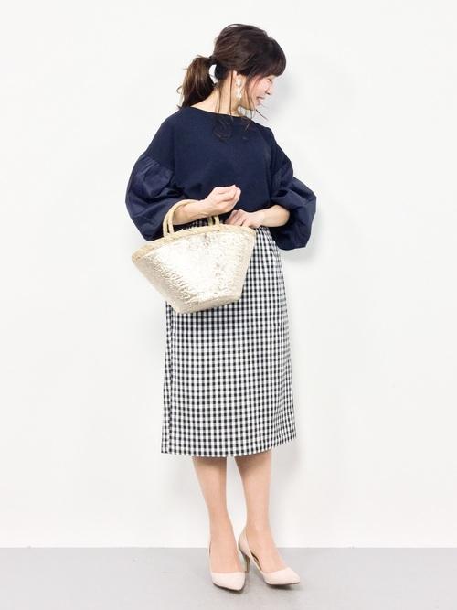 [natural couture] スカラップポケットゆるタイト