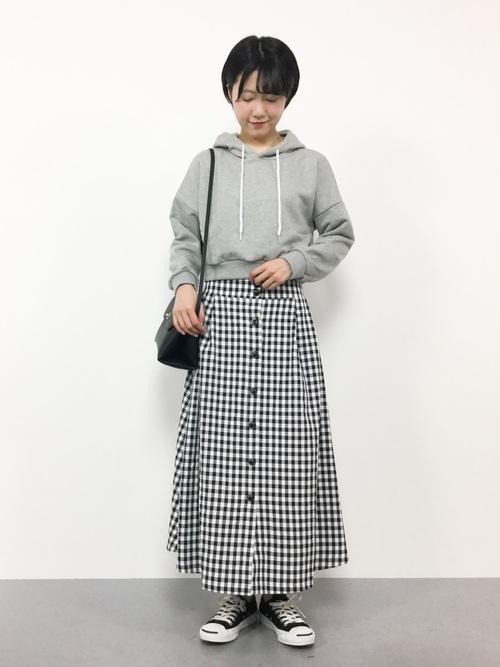 [ROPE' PICNIC] 【WEB限定】ギンガムフロントボタンスカート