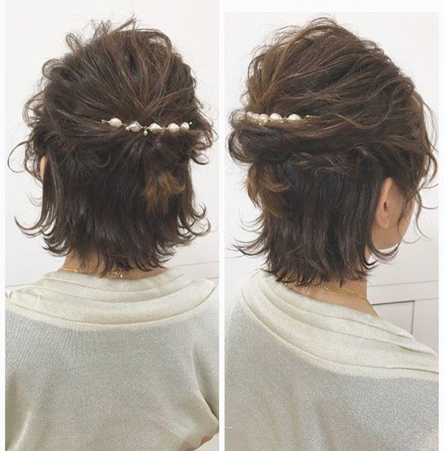 結婚式 髪型 ボブヘア ハーフアップ