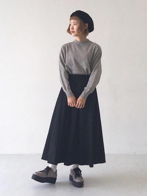[E hyphen world gallery] ギャザーボリュームロングスカート