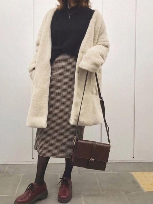 茶色 スカート 冬コーデ チェック2