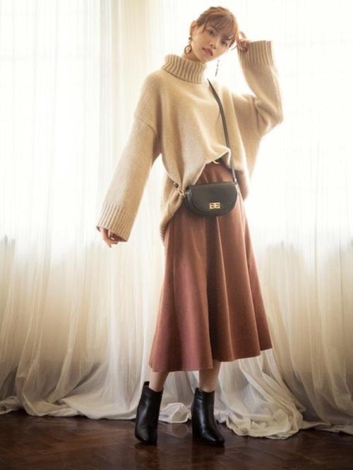 茶色 スカート 冬コーデ フレア5