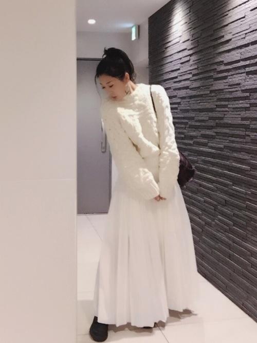 白スカート 冬コーデ4