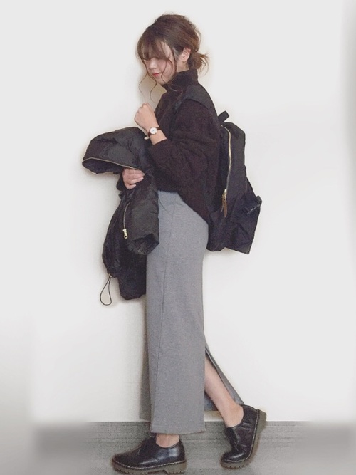 [TeddyShop] 厚手裏起毛 スウェット生地 タイトスカート
