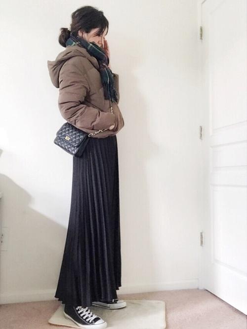 【GU】フーディーダウン×ロングスカート