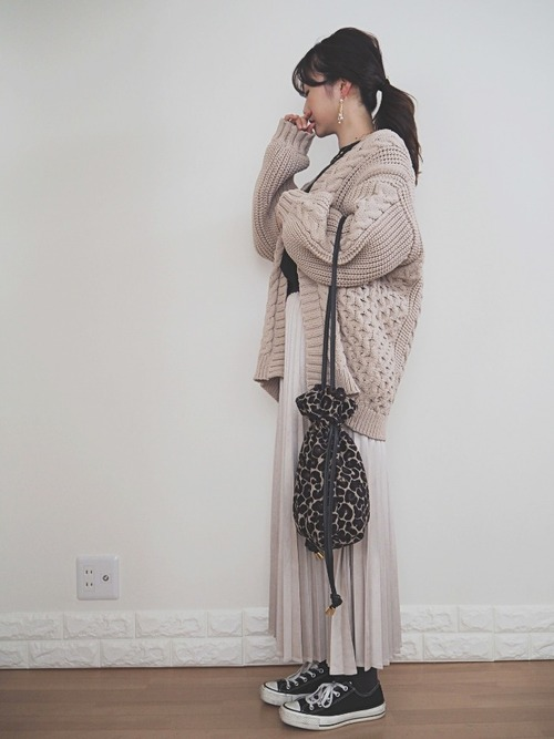 白スカート 冬コーデ8