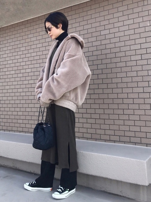 [select MOCA] ワッフルキーネックワンピース/長袖スリットデザインロング丈ワンピース