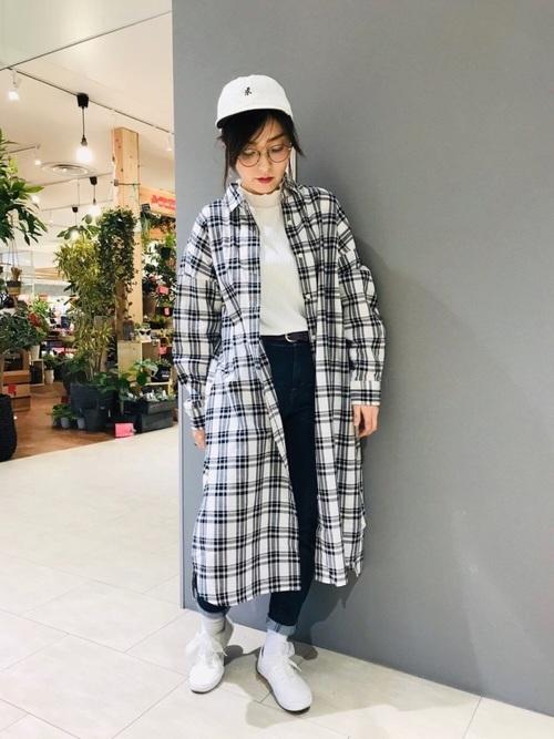 チェックシャツ 秋 コーデ14
