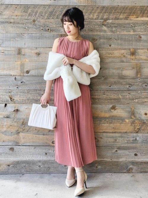 [Roomy's] ベルト付きプリーツロングドレス
