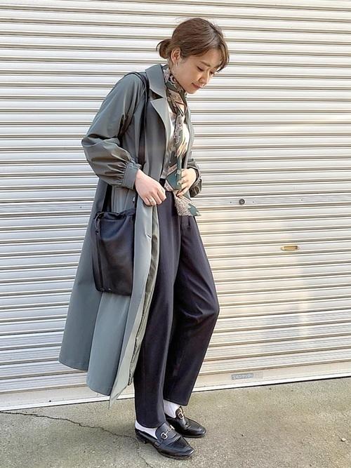 [LADYMADE] スカーフベルトフレアトレンチ