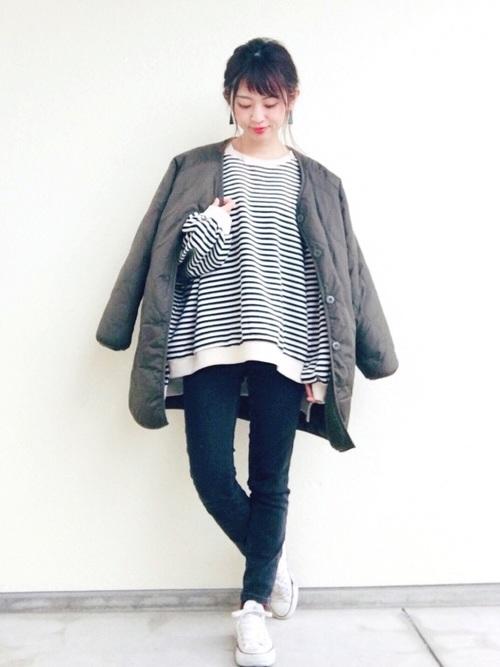 【GU】ビッグサイズダウン×ボーダーシャツ