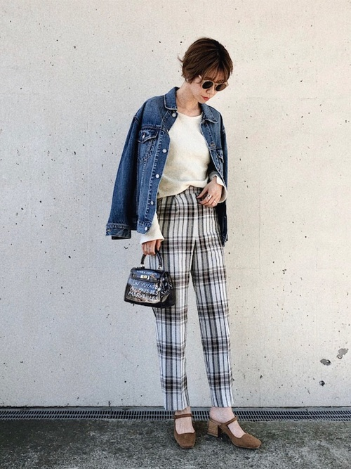 [MOUSSY] CHECK TUCK PANTS