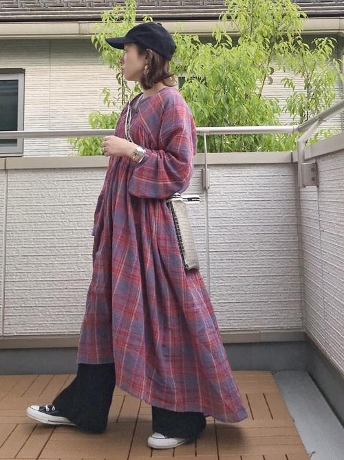 チェックシャツ 秋 コーデ8