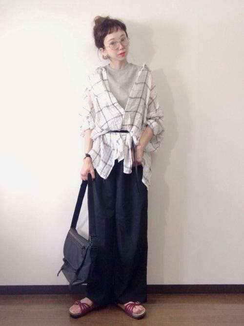 チェックシャツ 秋 コーデ4