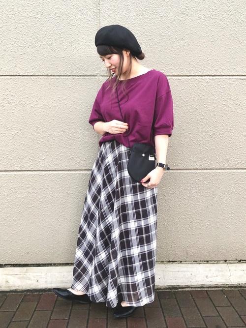 [studio CLIP] ニュアンスチェックマキシスカート