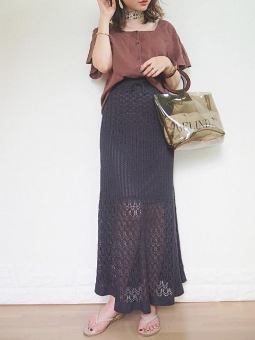 透かし編みニットスカート2