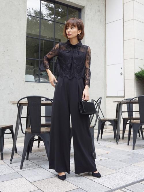 [My shawty] hight neck lace pants dress