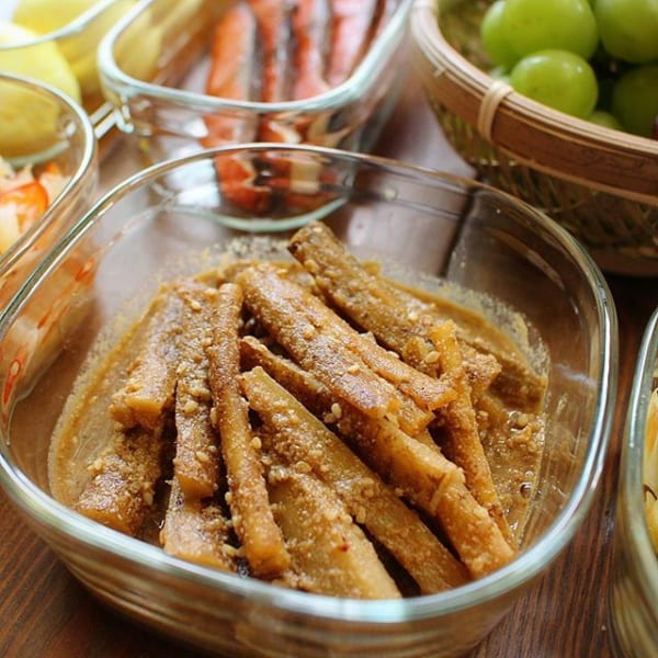 ⑤お弁当に合う副菜:たたきごぼうの胡麻和え