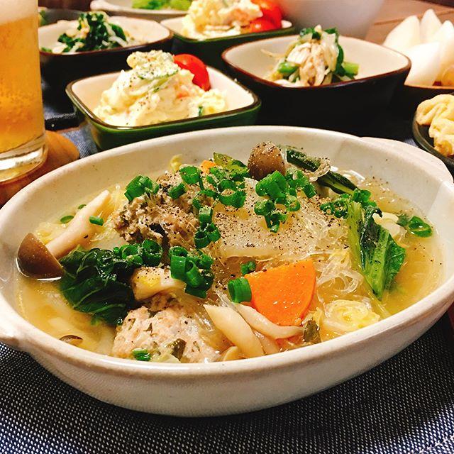 人気の献立に!春雨の野菜と肉団子スープ