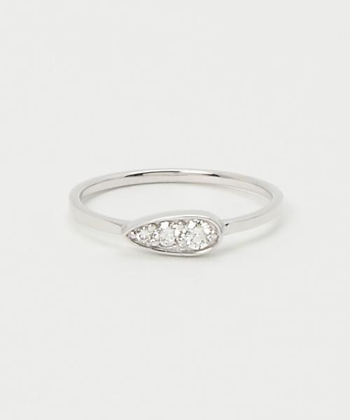 [ete] K18WGダイヤモンド ドロップ リング
