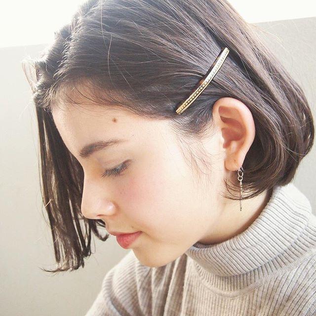 前髪なし ボブ 耳かけヘアスタイル6