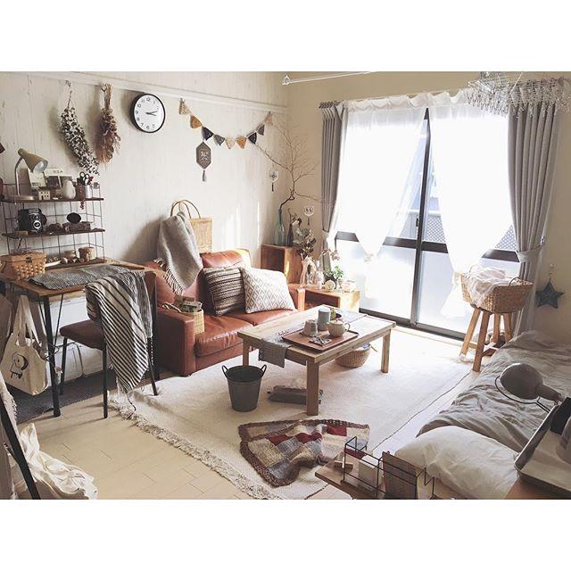 広めのワンルームならベッドもソファーも置ける