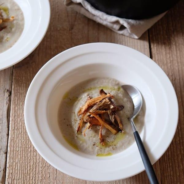 ⑩付け合わせスープ:ごぼうと舞茸のポタージュ