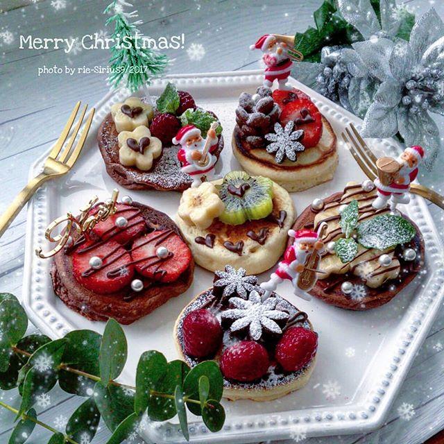 ミニパンケーキで作るクリスマスケーキ