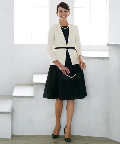 [C.R.E.A.M] ジャケット ワンピース セットアップ フォーマル スーツ ベルト付き【3点セット】結婚式