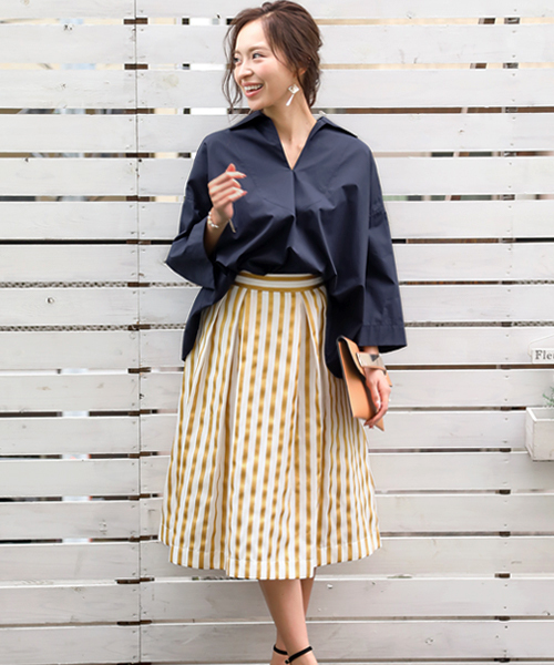 [GIRL] ストライプミモレ丈ボリュームフレアスカート