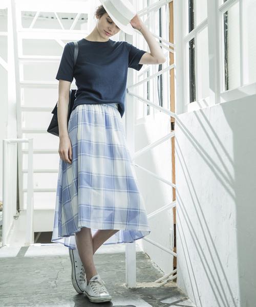 [STYLE BAR] 【STYLEBAR】ビッグギンガムチェックボリュームスカート