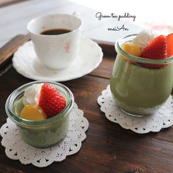 ㉓デザートレシピ:フルーツのせ抹茶プリン