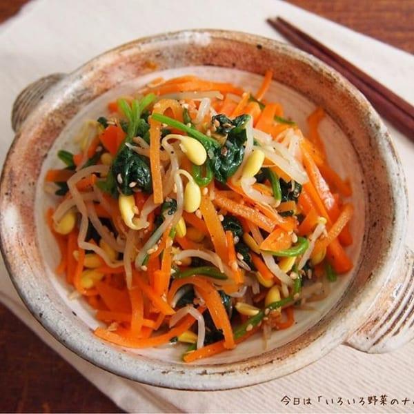 ⑨副菜レシピ:いろいろ野菜のナムル