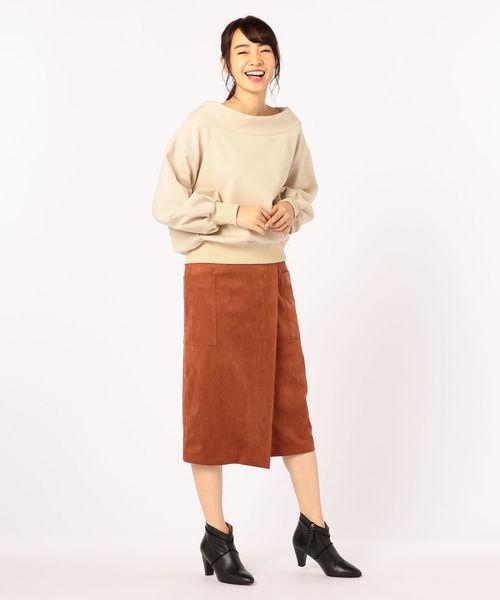 [NOLLEY'S] フェイクスエードラップスカート